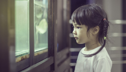 Curious Asian girl in front of fish tank