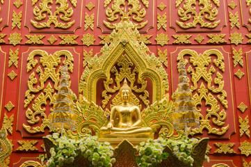 Gold big buddha statue.