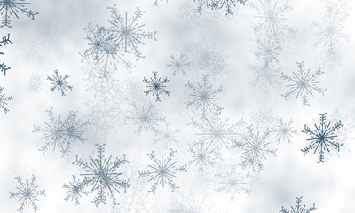 Abstract blue snowflakes background.