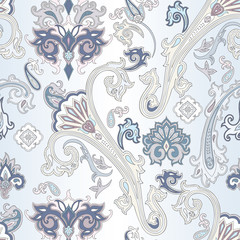 Vector pattern inspired by  paisley. Royal seamless pattern. Vintage ornamental background