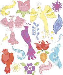 Collection of doodle fantasy birds, feathers and flowers