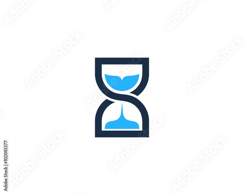 Infinity Time Hour Glass Logo Design Template Stock Image And
