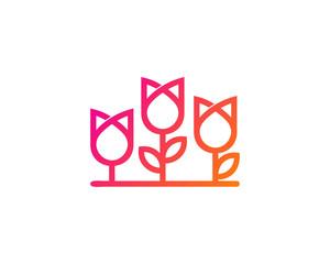 Tulip Flowers Logo Design Template