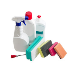 Various cleaning sponges, bottles of cleaning agent, dishwashing