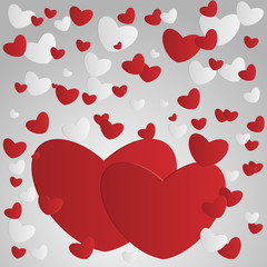 Beautiful background of the abstract paper hearts on Valentine's Day and wedding. Love. Vector illustration
