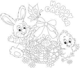 A Little Rabbit And Chick With Happy Easter Greeting Decorated Basket