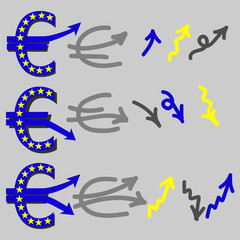 Euro Currency Symbol with Red Arrow Down. Currency fluctuations, arrows. Vector