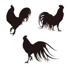 鶏のシルエット 酉年 年賀素材