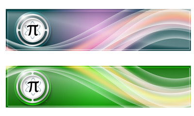 Set of two banners with colored rainbow and pi symbol