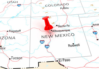 Red Thumbtack Over New Mexico State USA Map