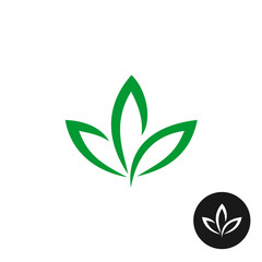 Three green leaf vector logo. Natural plant symbol.