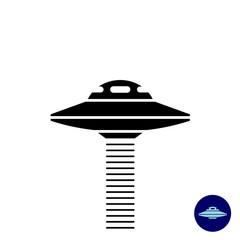 Alien UFO ship simple black silhouette with scanner beam waves.