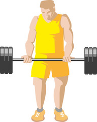 Biceps exercise with barbell. Muscular young boy do biceps exercise with barbell.
