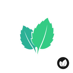 Mint leaves vector logo. Two leaves of a mint with one color bla