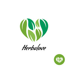 Heart logo with herbal green leaves. Natural product concept.