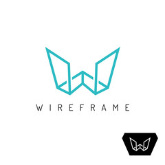 Letter W wireframe linear 3D perspective logo. Construction outline symbol.