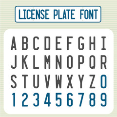 License plate font. Car identification number style letters set.