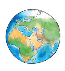 Watercolor sketch earth isolated