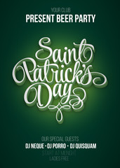 St. Patrick's Day poster. Beer party green background with calligraphy sign. Vector illustration