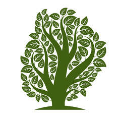 Art vector illustration of tree with green leaves, spring season