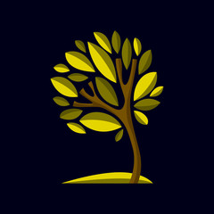 Artistic stylized natural design symbol, creative tree illustration