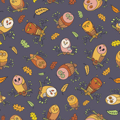 Owls Pattern. Vector Illustration consisting of different hand drawn owls creating a pattern.
