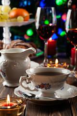 High tea set with dessert