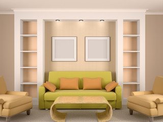 3d illustration of bright interior room with niches and framewor