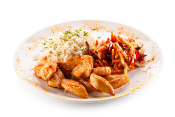Chicken nuggets, white rice and vegetables