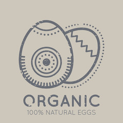 Nutrition emblem with chicken eggs