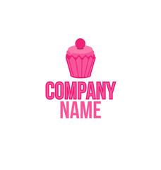 Cake shop logo, sweet cupcake with pink cream retro dessert emblem template design element. Mockup birthday or wedding invitation