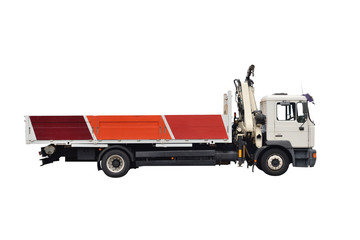 truck with crane isolated on white background