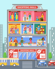 Shopping Center Desingn Flat Banner