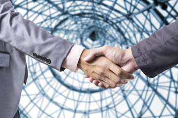 Business handshake on modern blur background