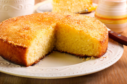 Coconut citrus syrup cake