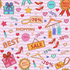 Pattern on shopping, themed design with different elements:sale,shoes ,heart gift,price tag,label,lipstick, discount in pink tones