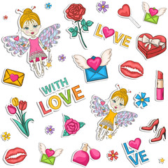 Seamless colored pattern,set,clip art.With a box of chocolates with a bow, pink, blue,perfume, text, lipstick, hearts, flowers, womens high heel shoes, champagne, wine, glasses, elf, wings, love