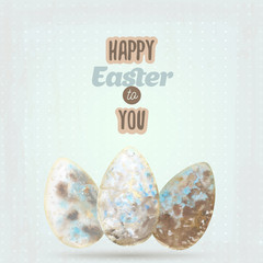 Happy easter card with watercolor vintage eggs on blue background. Decor elements. Vector illustration.