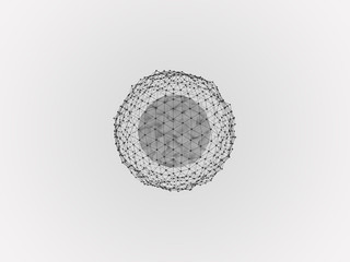 conceptual abstract image deformation sphere surrounded by dots on a solid background