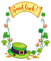 Color frame with clover, paper scroll and leprechaun hat