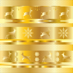 Golden festive background, Christmas gold pattern. Vector with layers. With gold elements of the reindeer, snowflake, circles, stripes. For graphic design holidays production.