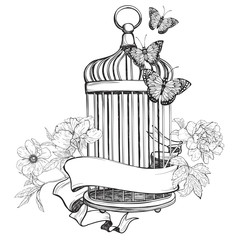 Birdcage wih ribbon, flowers and butterfly