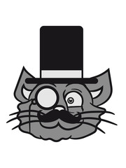 face head sir mr mustache monocle glasses cylinder hat kitten gentlemen sweet cute cat
