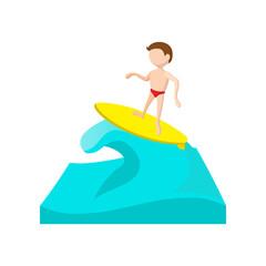 Surfing cartoon icon