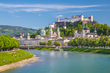 Historic city of Salzburg in summer, Austria Wall mural