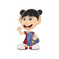 Little girl carrying a schoolbag cartoon