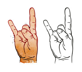 Hand in rock sign. Vector illustration