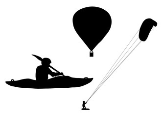 Black silhouette extreme sports ballooning, kayaking and kiteboarding