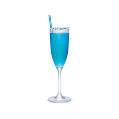 Blue realistic cocktail