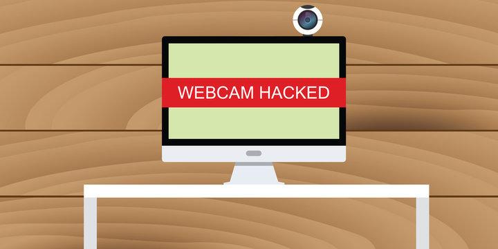 web cam hack webcam hacked illustration in pc desktop computer camera vector